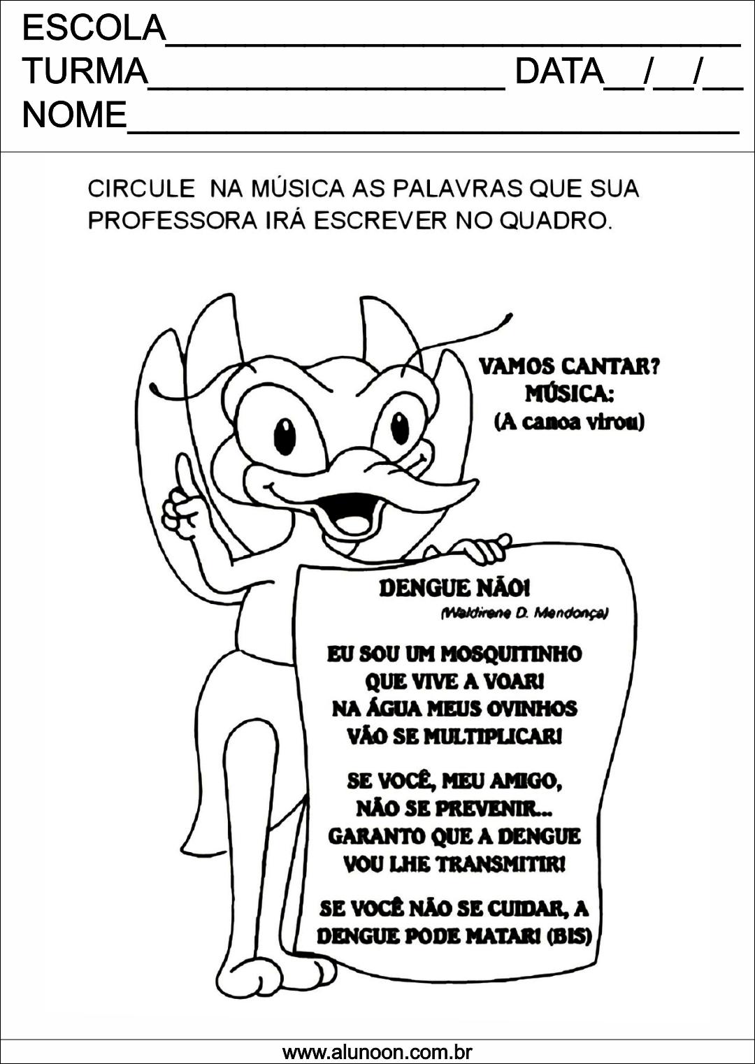 Top Música da Dengue para Imprimir - Aluno On TH61