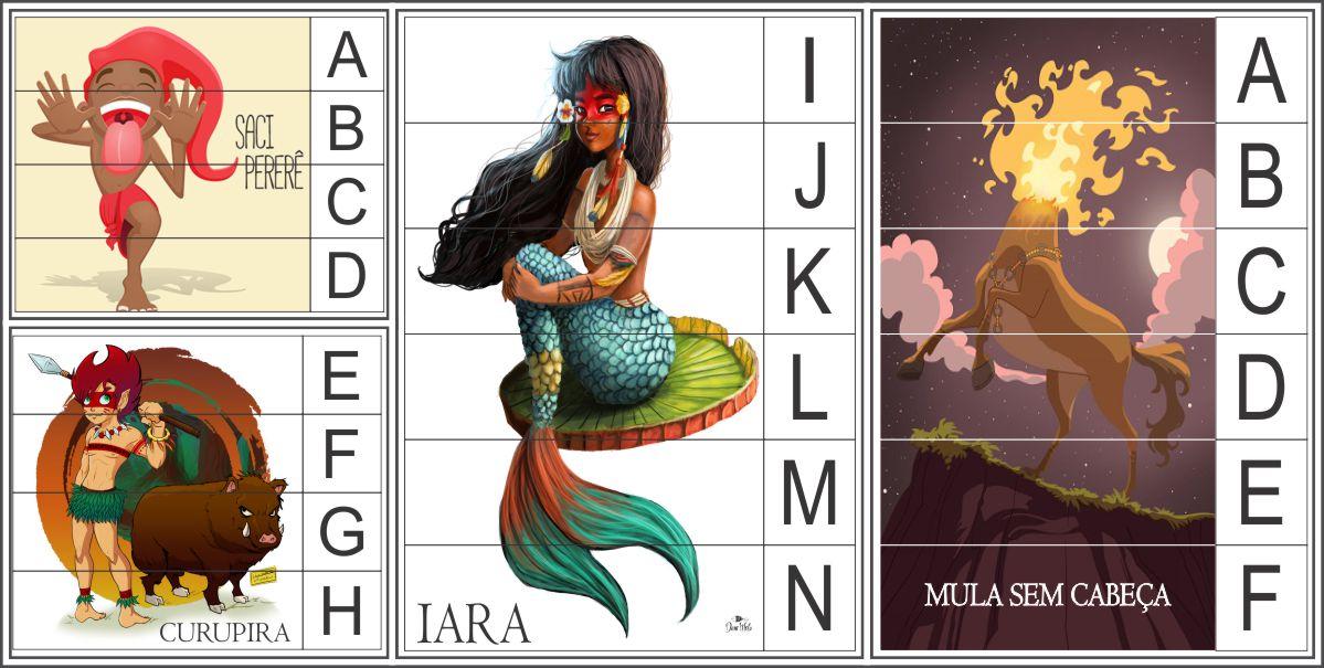 Quebra-Cabeça do Folclore para ensinar o alfabeto