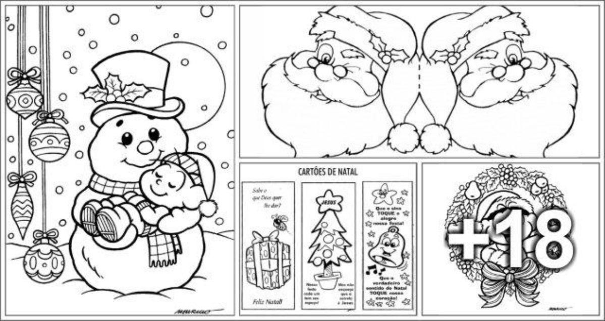 23 Cartões de Natal para imprimir e colorir