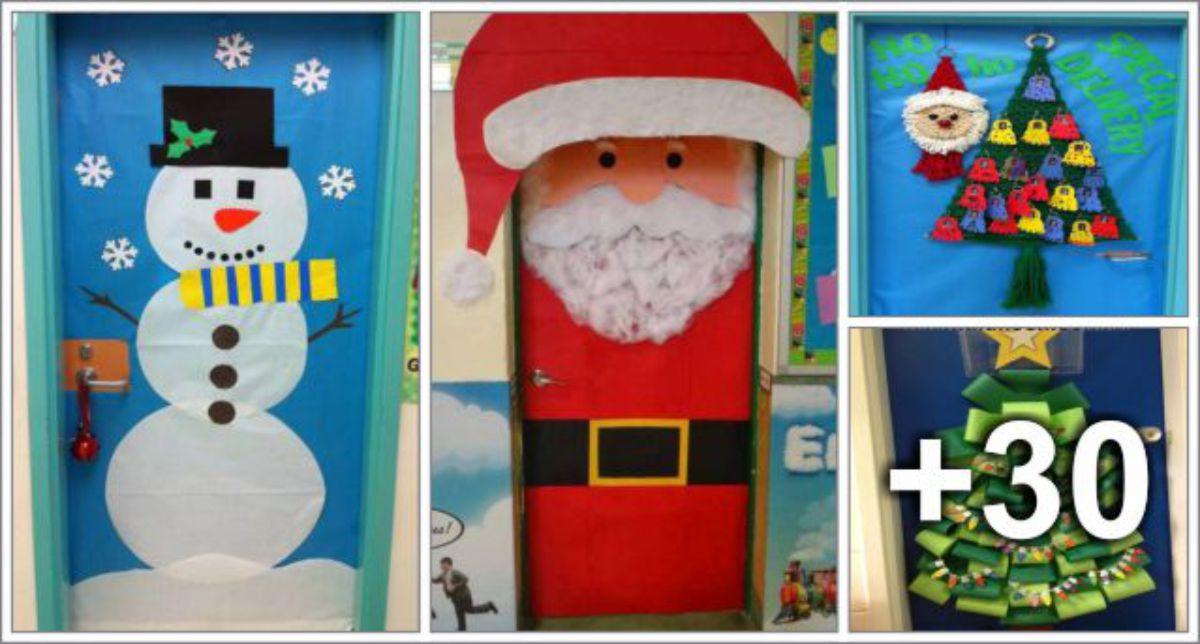 34 portas decoradas para o natal aluno on for Puertas decoradas santa claus