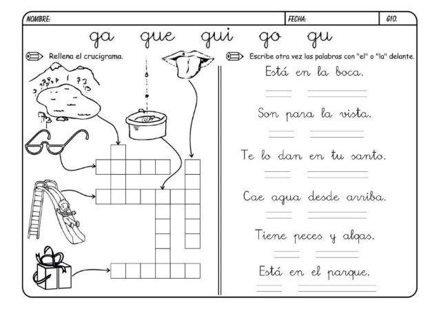 30 Fichas para aprender la letra G - Educaciín Preescolar - Alumno On