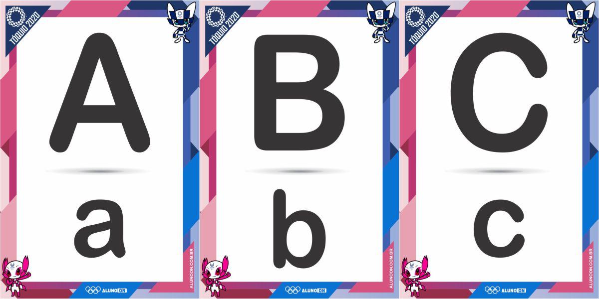 Alfabeto em letra de forma maiúscula e minuscula olimpíadas Tóquio 2020