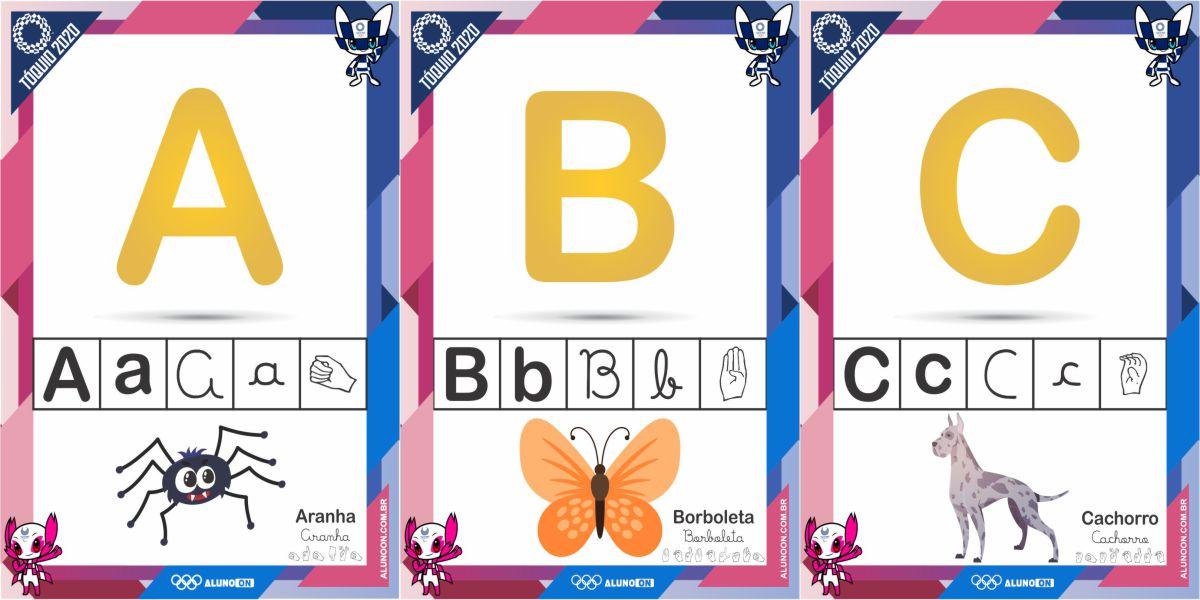 Alfabeto Ilustrado em 4 letras e LIBRAS olimpíadas Tóquio 2020