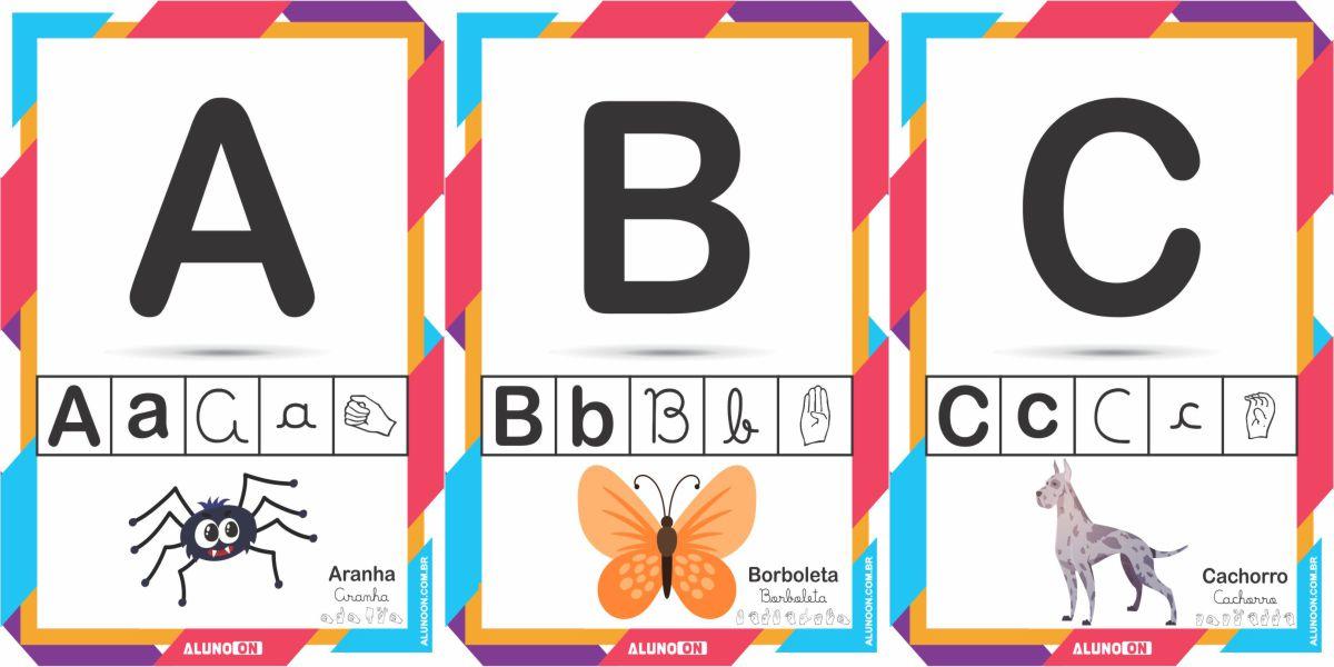 Alfabeto ilustrado em letra de forma, cursiva e LIBRAS para imprimir