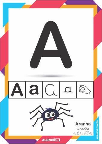 Alfabeto Ilustrado Em Letra De Forma Cursiva E Libras Para