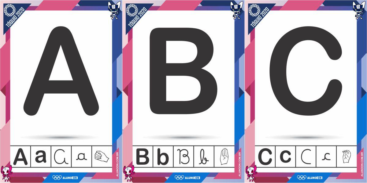 Alfabeto em 4 letras e LIBRAS olimpíadas Tóquio 2020