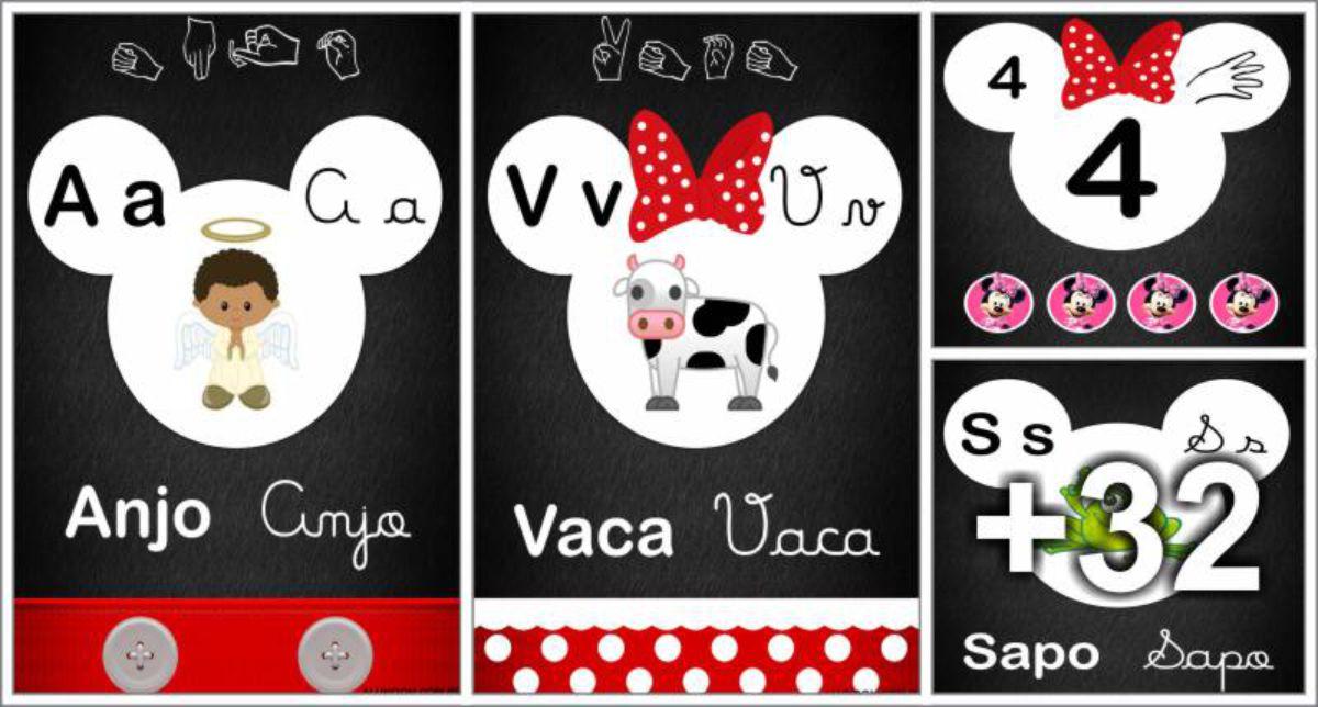 Alfabeto Mickey e Minnie Disney para imprimir - 4 letras e libras