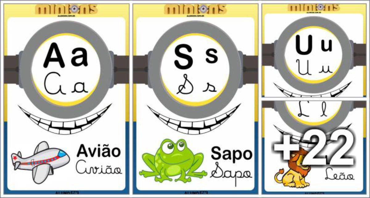 Alfabeto dos Minions - 4 Letras para imprimir