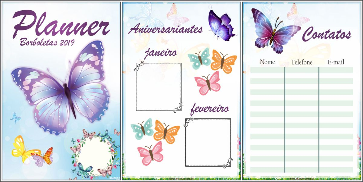 Planner borboletas 2019