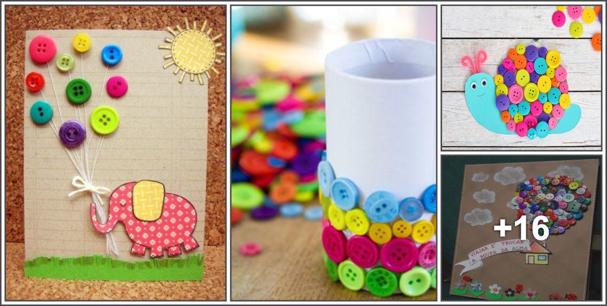 Diversas ideias com botões para crianças