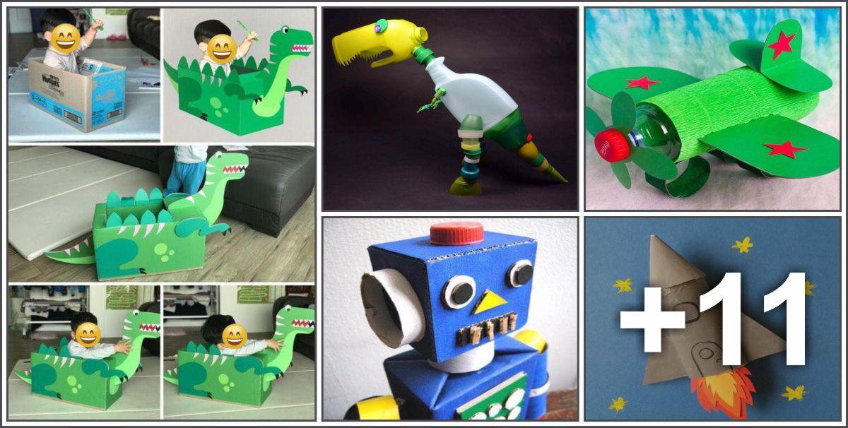 16 Ideias de brinquedos feitos com sucata