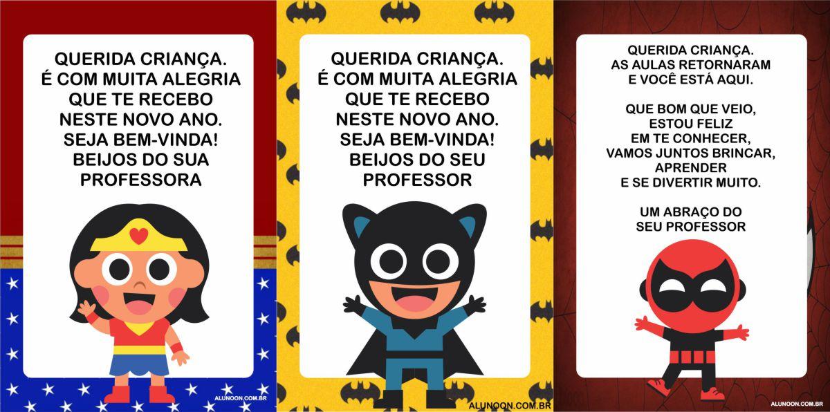40 Cartões de volta às aulas dos Super-Heróis
