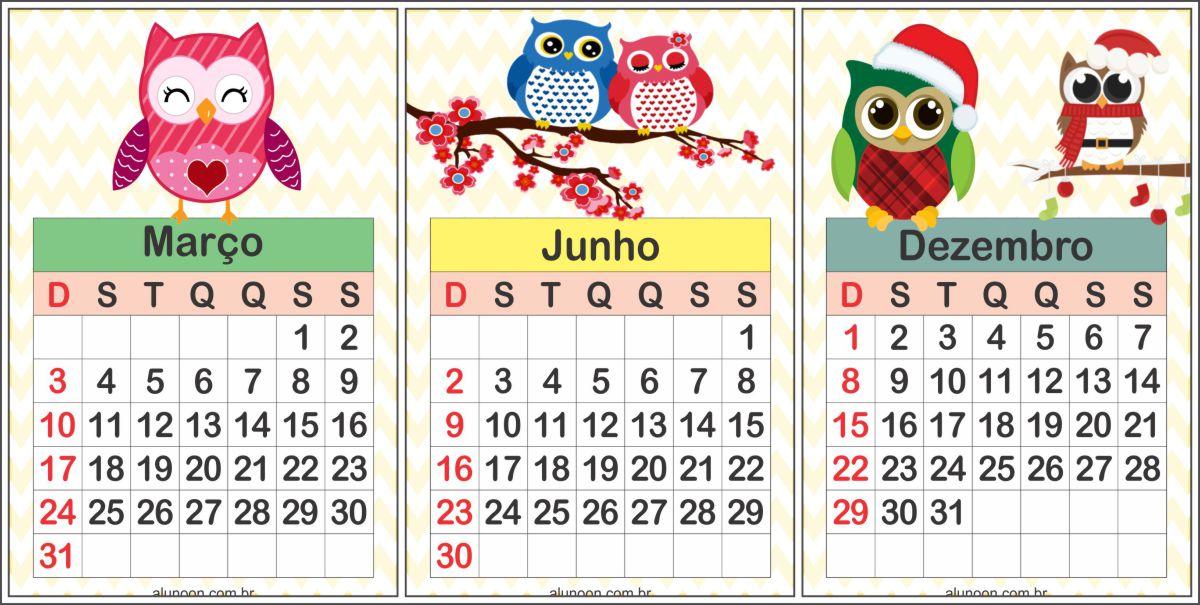 Calendário corujinhas 2019