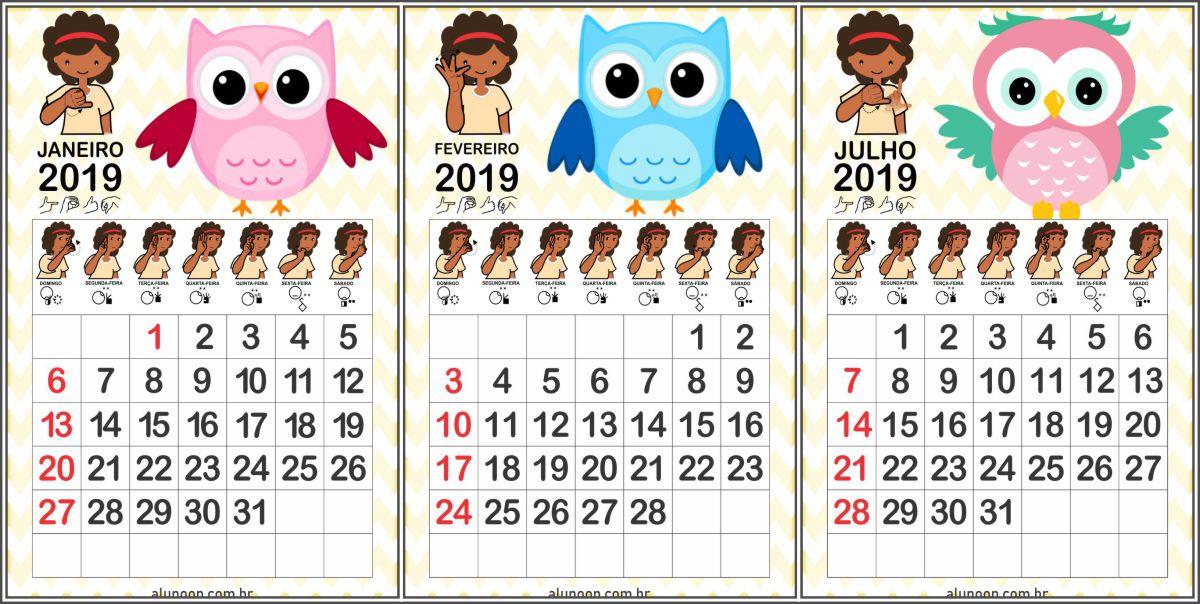 Calendário Corujinhas 2019 em LIBRAS