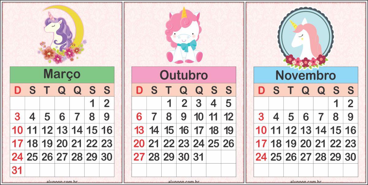 Calendário Unicórnio 2019 para impirmir