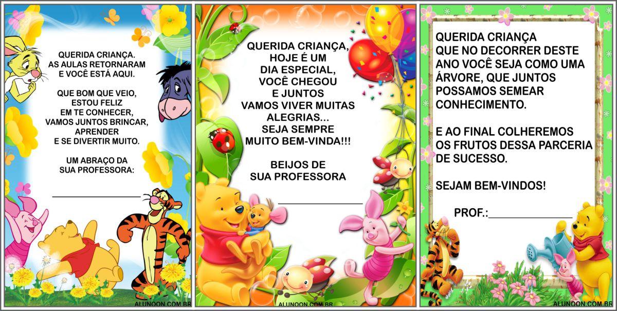 16 cartões de volta às aulas do Ursinho Pooh