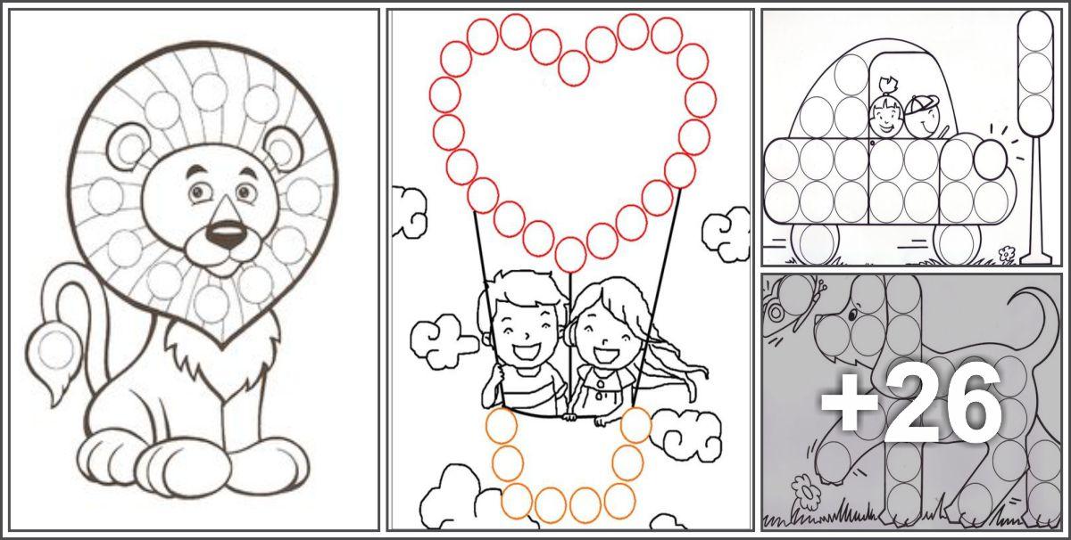 30 Fichas para imprimir de Desenhos para preencher círculos