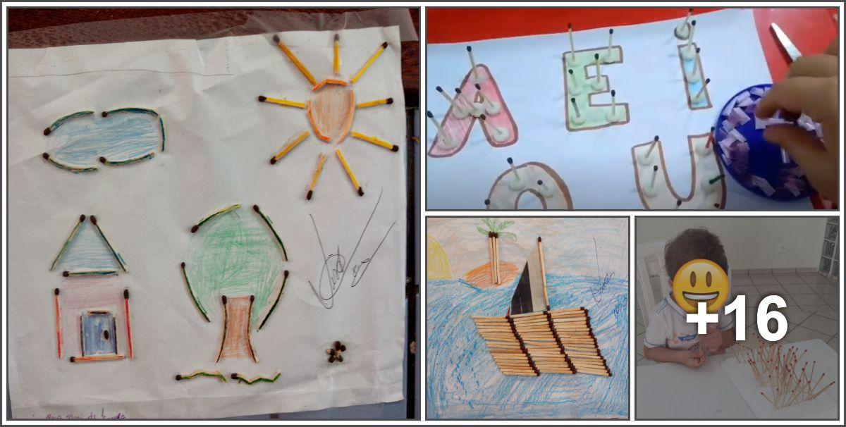 Ideias de atividades com palitos de fósforo para crianças