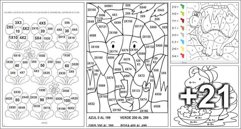 25 Dibujos para colorear segun la zona indicada-Por sumas, restas y ...
