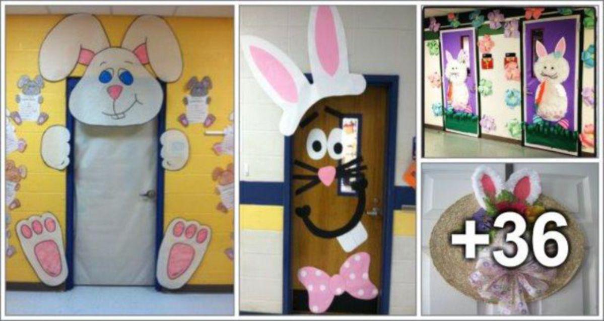 40 ideias de decoração de portas para Páscoa