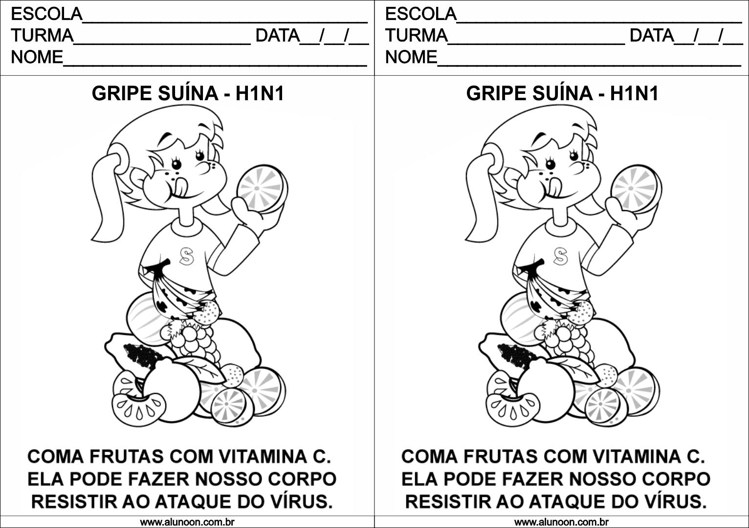 Extremamente Desenho sobre a Gripe Suína para Educação Infantil - Aluno On EI23